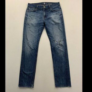 7 For All Mankind Blue Standard Fit Straight Jeans